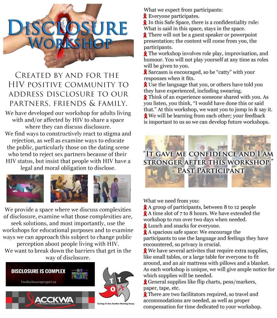 HIV Disclosure Workshop | ACCKWA – AIDS Committee of Cambridge ...